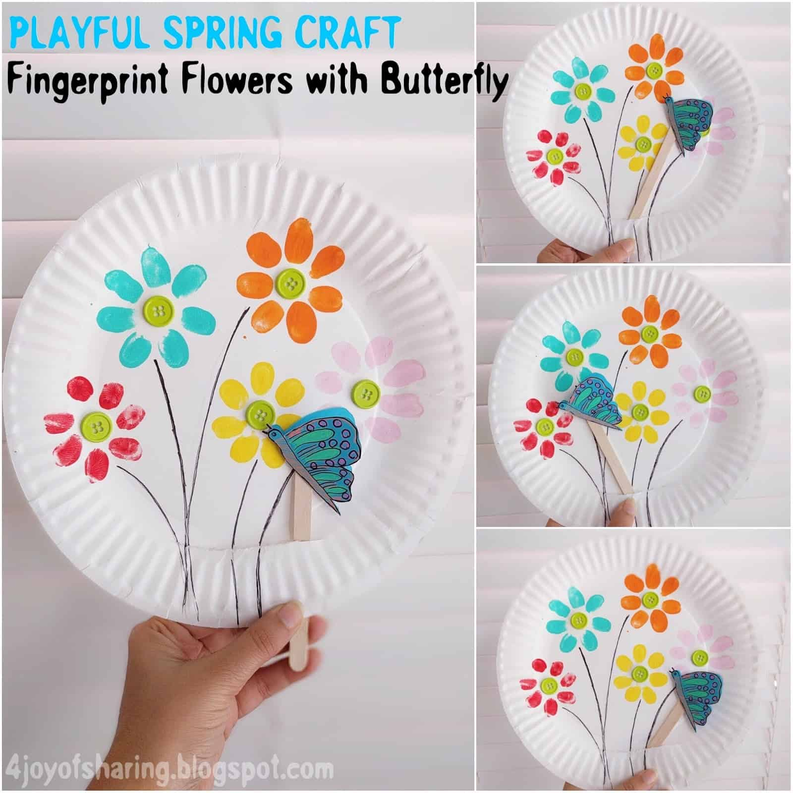 Finger print flowers with a moving butterfly