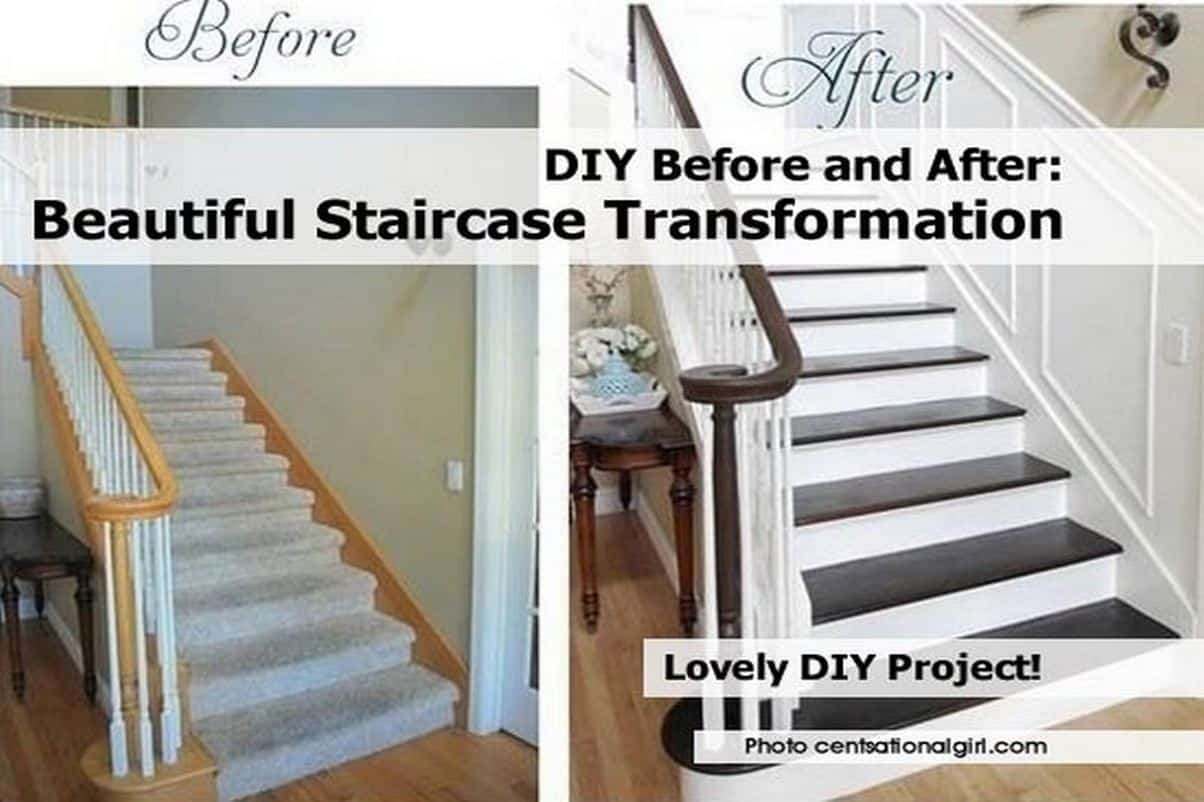 From carpeted stairs to stained wood with panellng