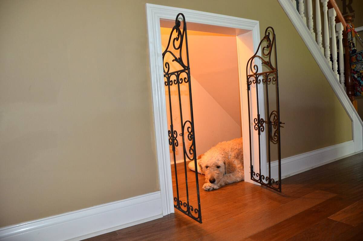 Gated dog house under the stairs