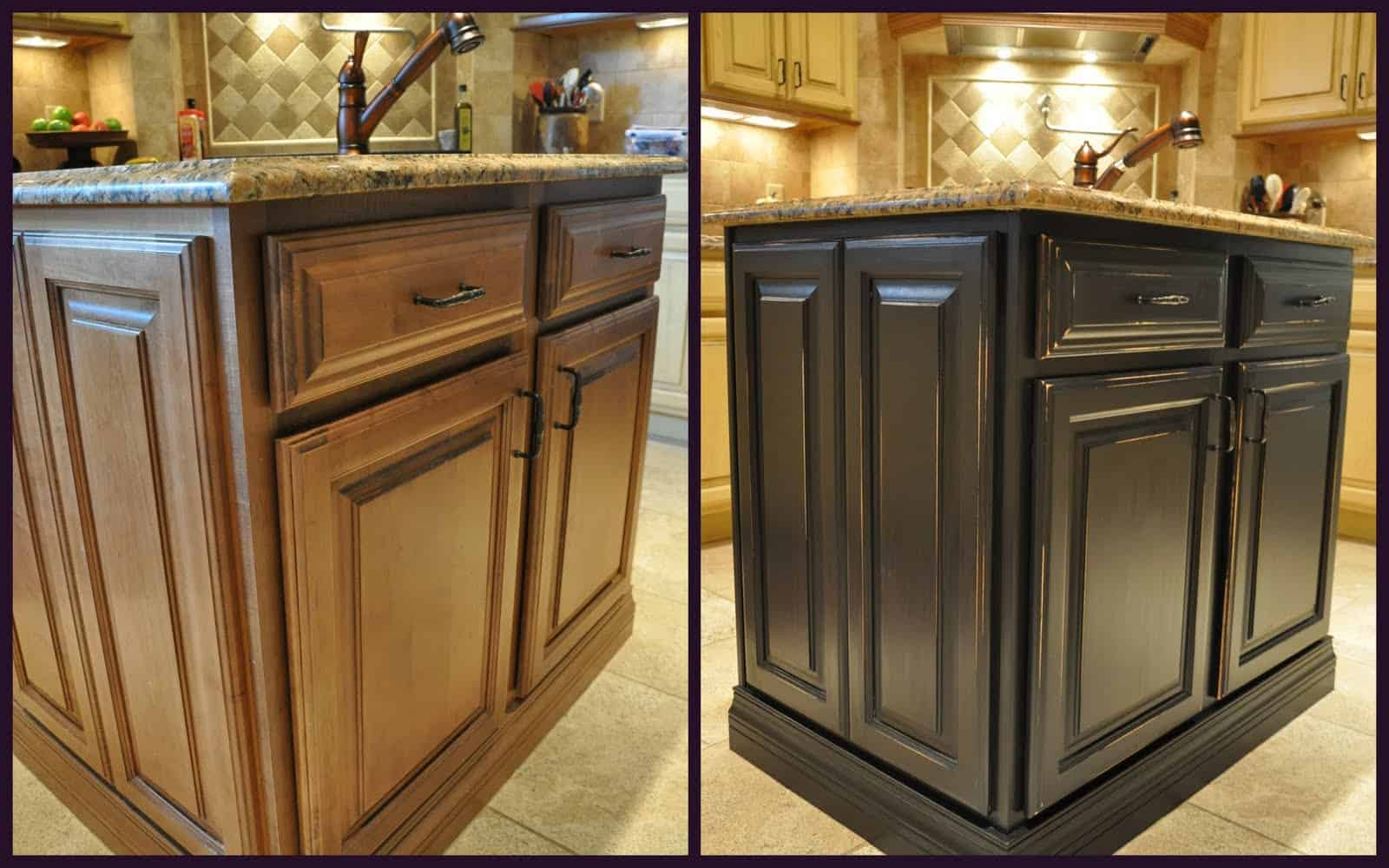 Gel painted and stained kitchen cupboards