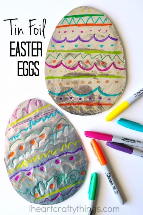Illustrated tinfoil Easter eggs