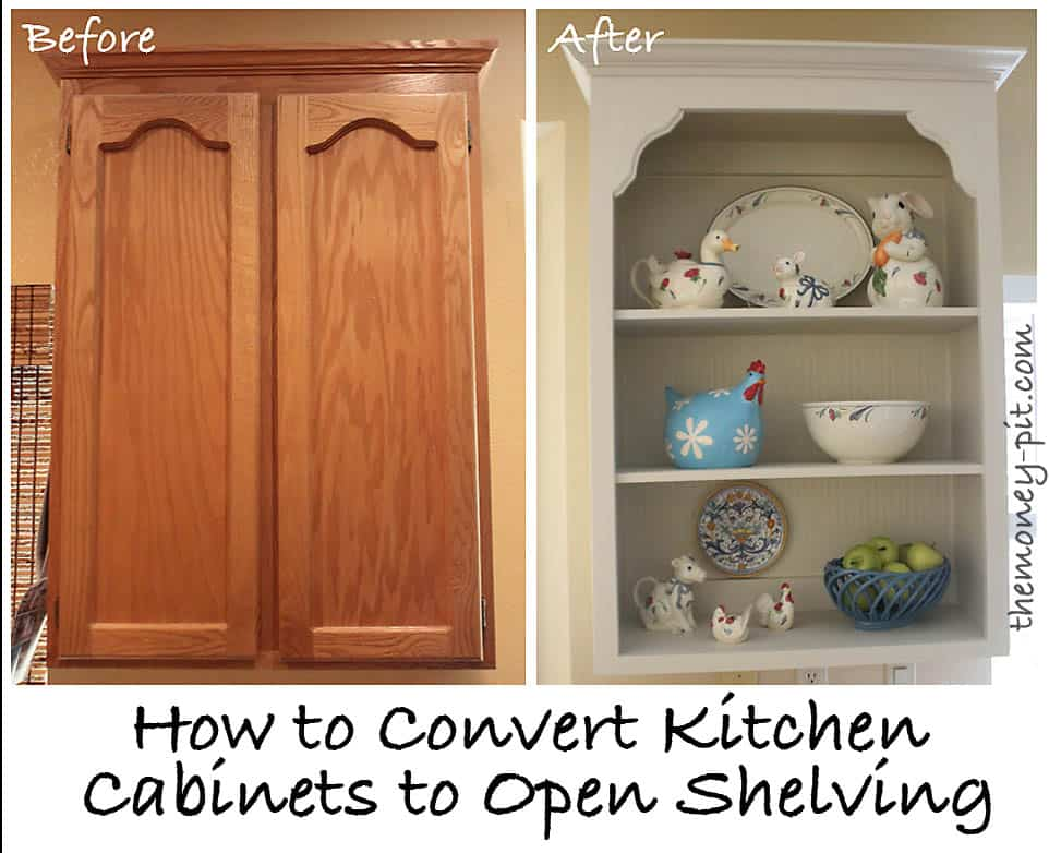 Kitchen cupboards converted to open shelving