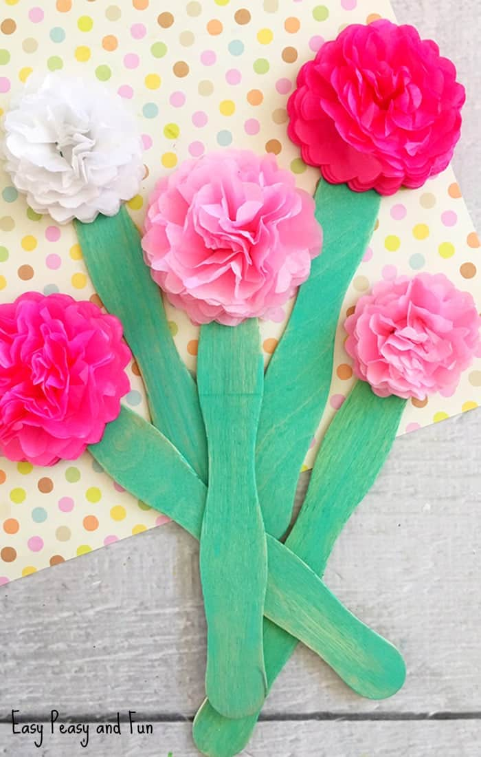 Layered tissue paper flowers