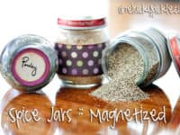 Magnetized spice jar board 1 200x150 15 Clever DIY Ways to Declutter Your Kitchen and Cupboards