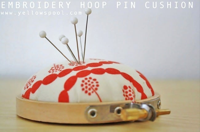 Mini embroidery hoop pin cushion