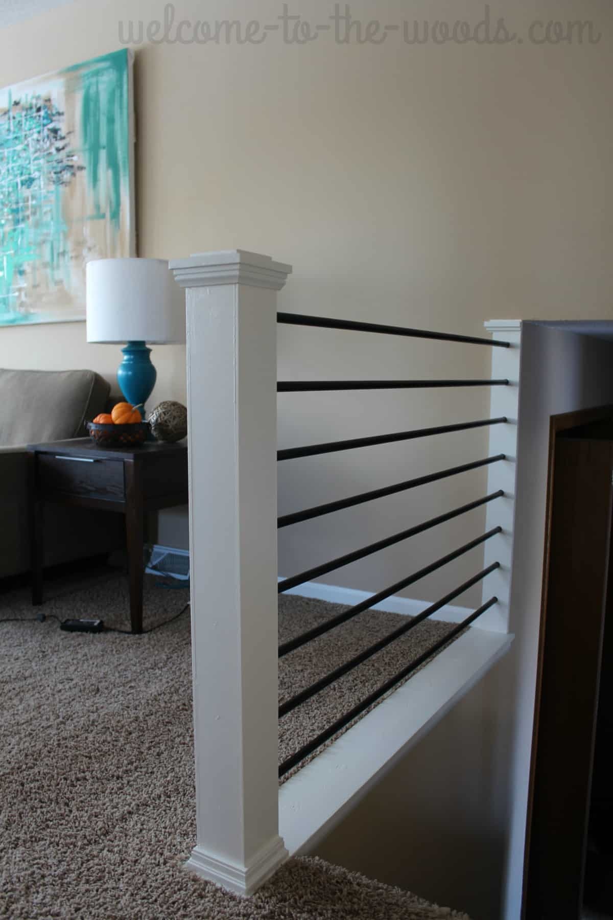 Modern horizontal stair railing makeover