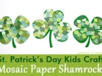 Mosaic paper shamrocks 200x150 Fun in a Lucky Sorts of Way: Best St Patrick's Day Kids' Crafts