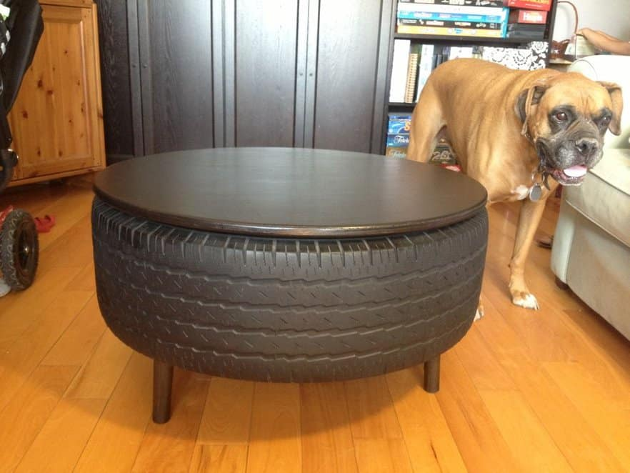 Old tire coffee table