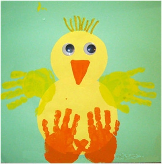 Paper and handprint Easter chick