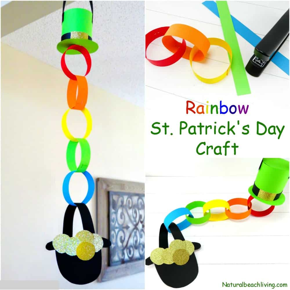Paper chain rainbow St Patrick's Day craft