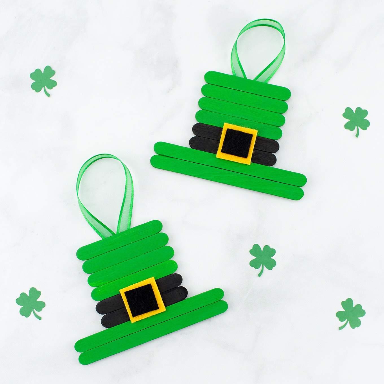 Popsicle stick leprechaun hat ornaments