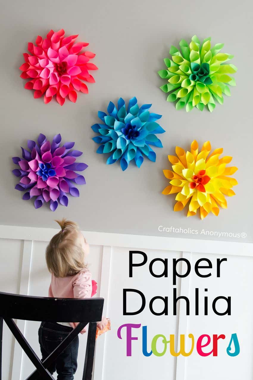 Rainbow paper Dahlia wall flowers