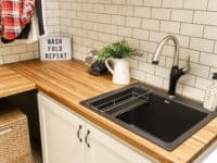 Reclaimed wood countertops for modern farmhouse laundry 200x150 How to Remodel Your Own Laundry Room Without a Contractor