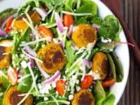 Roasted carrot falafel salad with citrus tahini dressing 200x150 Sprinkle of Freshness and Health: 15 Awesome Salad Recipes for Spring