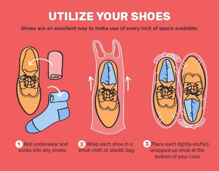 Save space by using the insides of your shoes