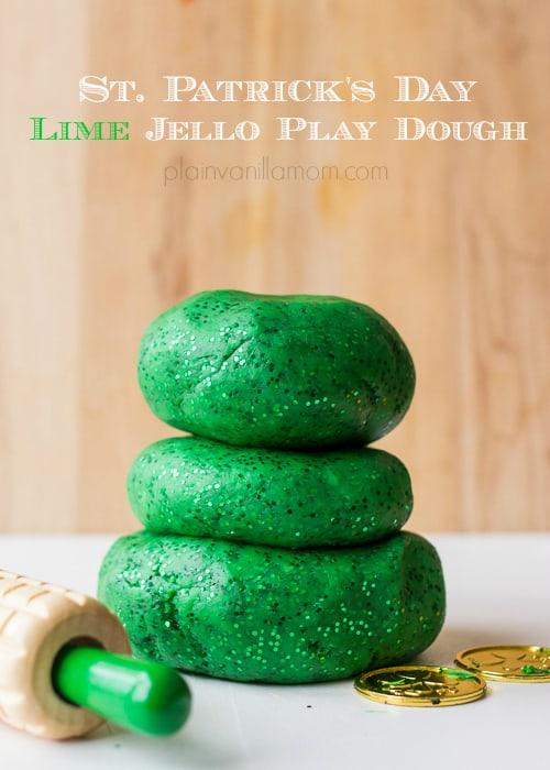 Sparkling green play dough