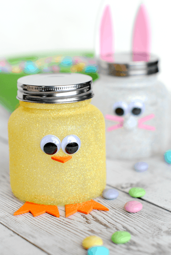 Sparkly chick and bunny candy jars