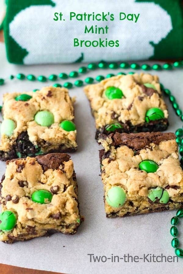 St Patrick's Day mint brookies