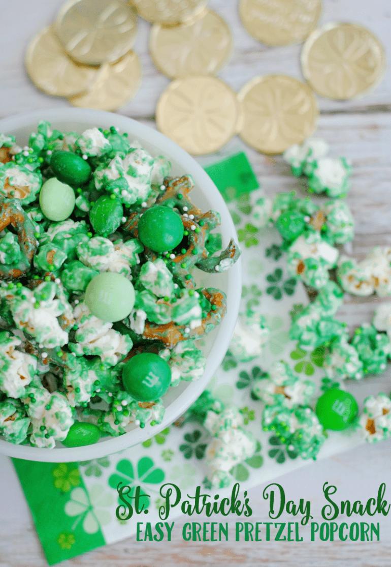 St Patrick's Day pretzel popcorn