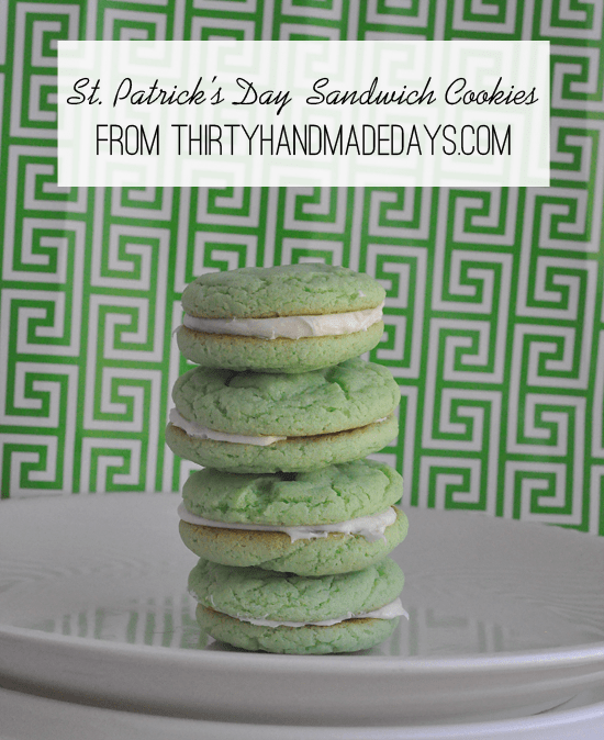 St Patrick's Day sandwich cookies