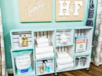 Stacked and painted crate shelves 200x150 Space Savers: 15 DIY Ways to Create More Storage in Your Bathroom