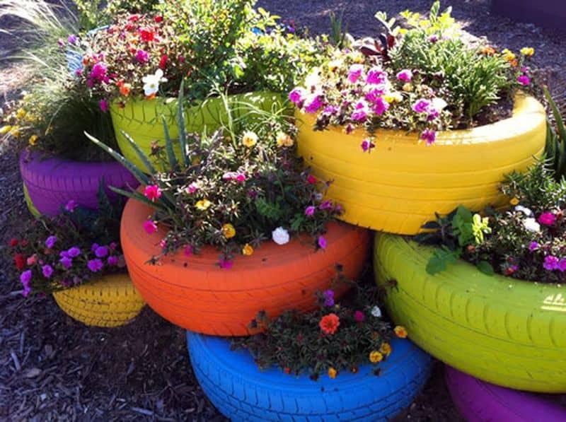 Stacked rainbow garden planters