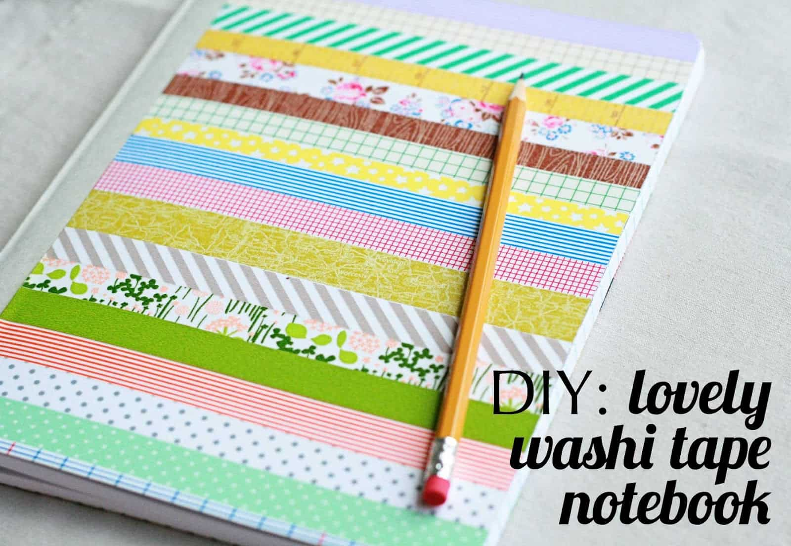 Striped washi tape notebook