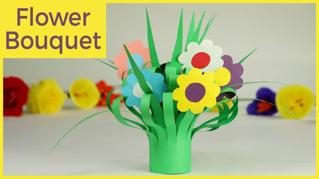 Stripped paper flower bouquet