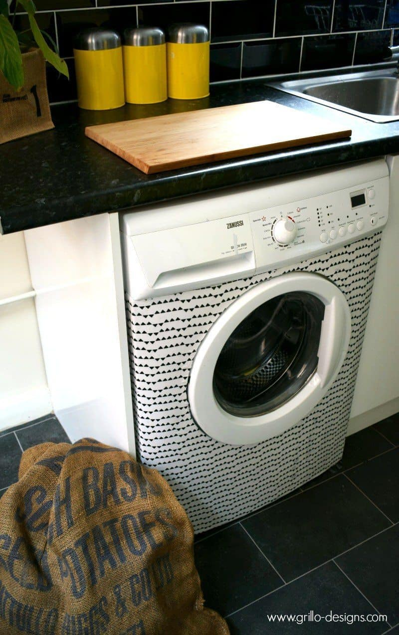 Super fun Mod Podge washing machine makeover