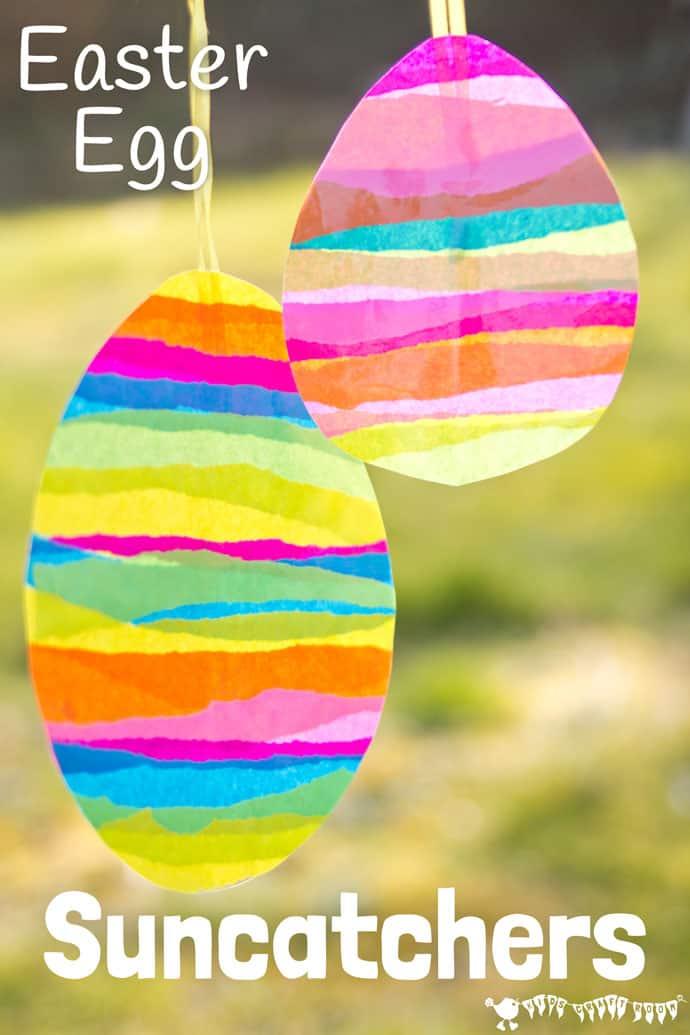 Tissue paper Easter egg sun catchers