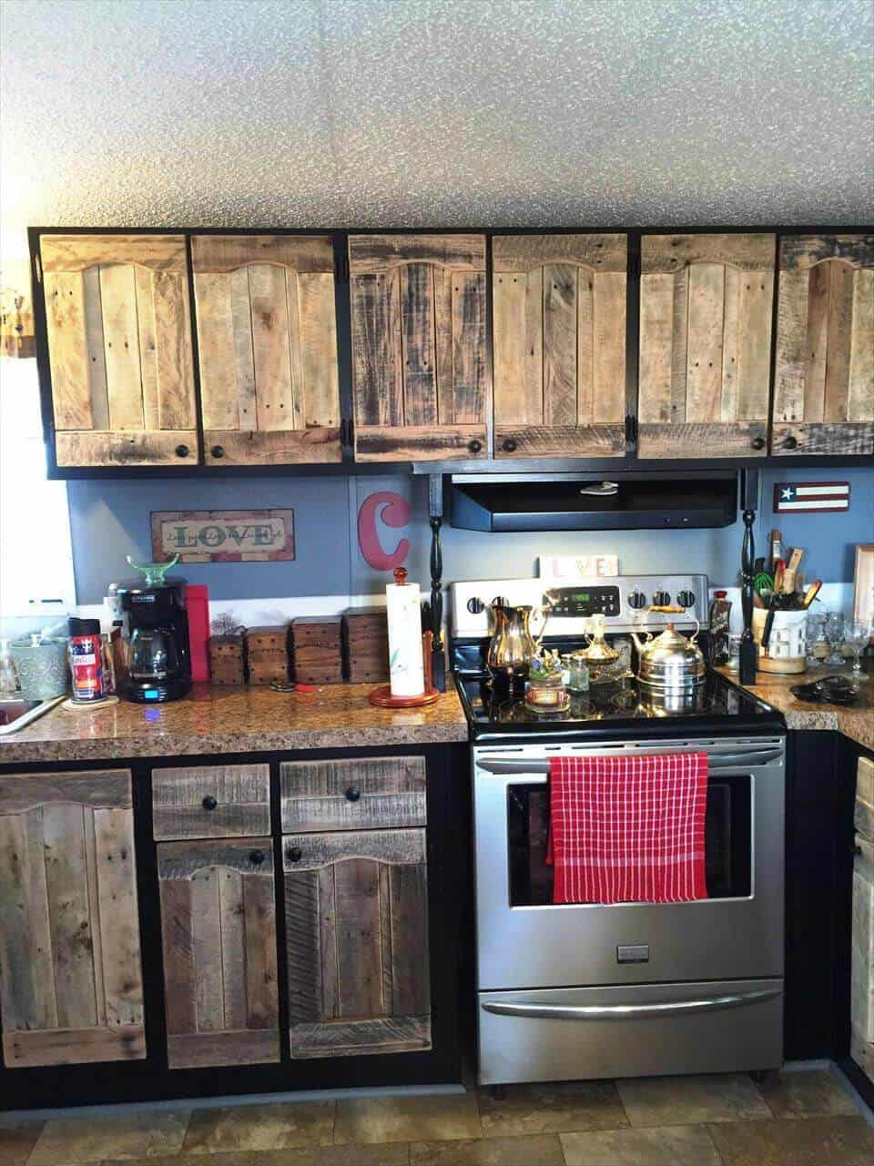 Upcycled pallet wood cupboard doors
