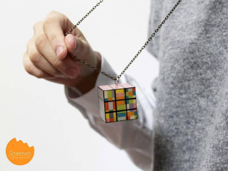 Washi tape Rubik's cube necklace