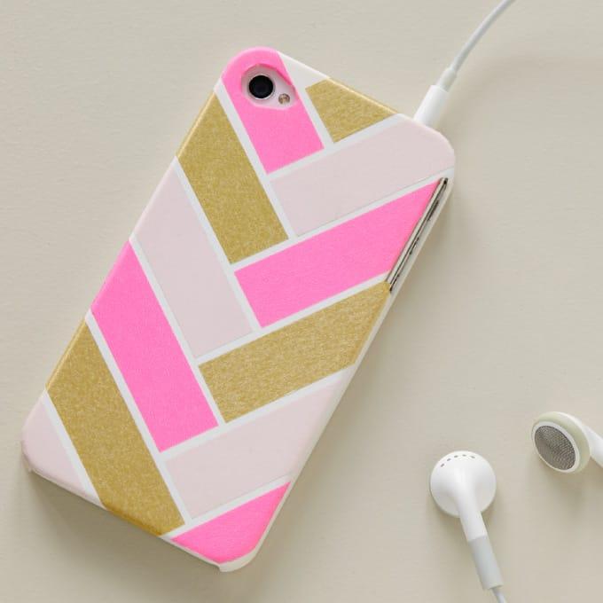 Washi tape herringbone phone case