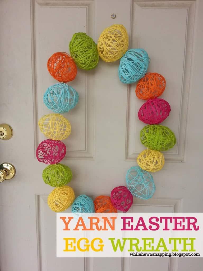 Yarn egg Easter wreath