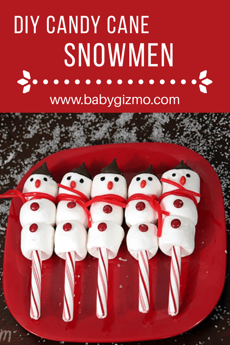 Candy cane and marshmallow snowmen