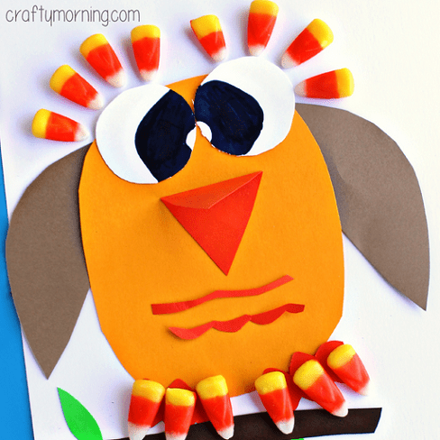 Candy corn owl craft