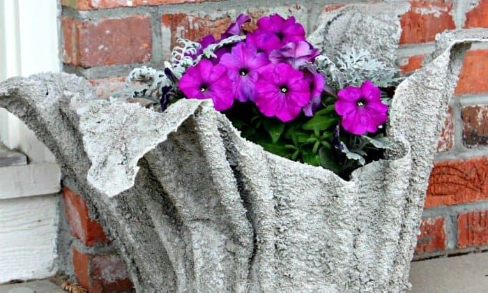 Cement towel garden planter