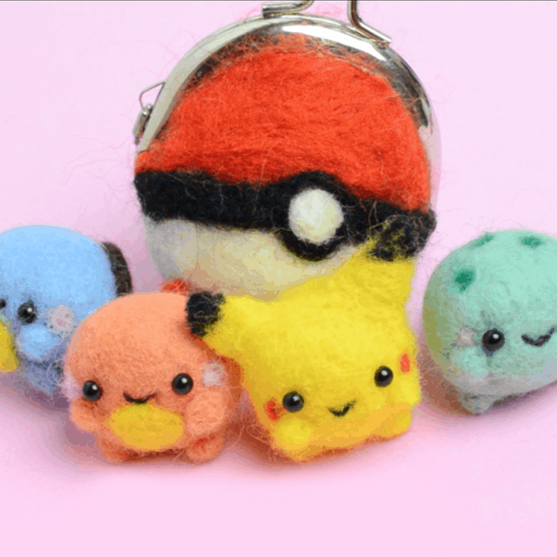 Chubby felted Pokemon