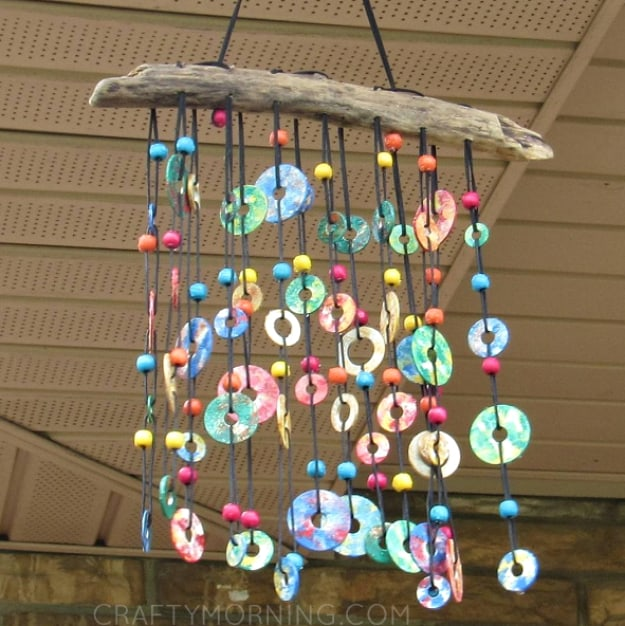 Colourful metal washer wind chime