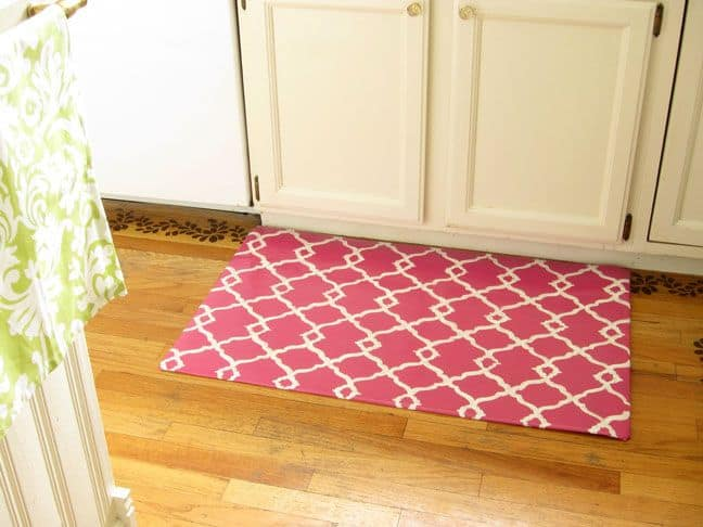 Custom painted floor mat from scrap vinyl flooring