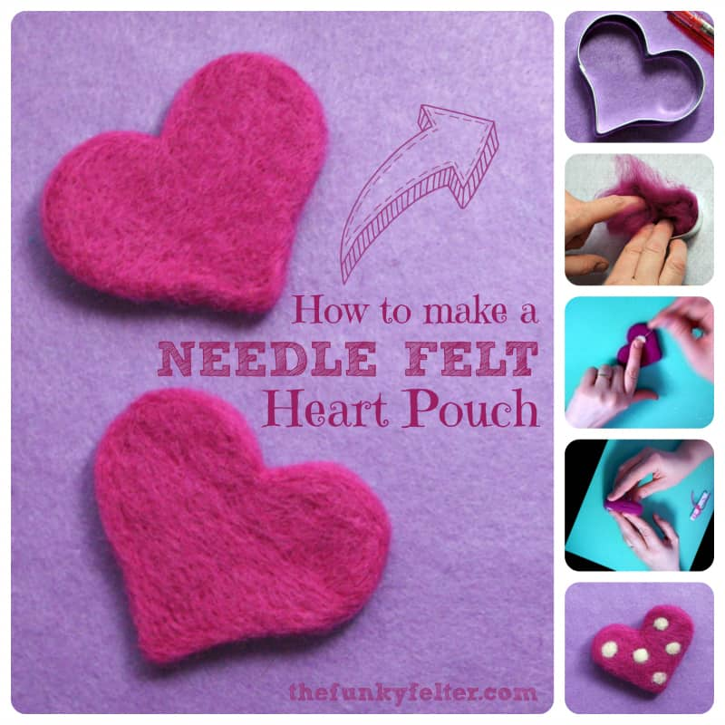 Cute and simple needle felted heart pouch