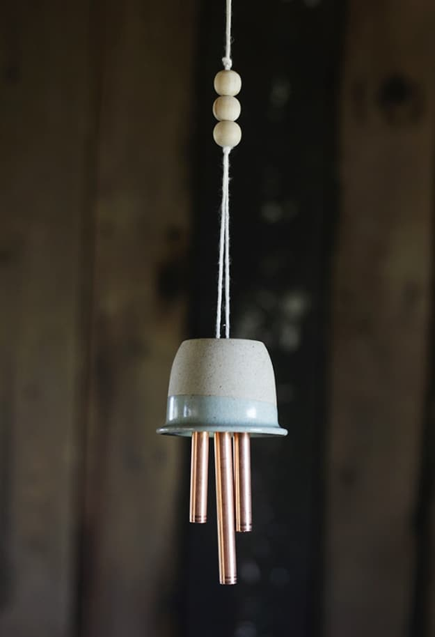 DIY ceramic and copper wind chimes