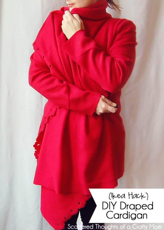 DIY draped fleece cardigan
