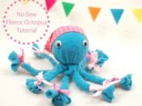 DIY no sew fleece octopus 200x150 Plush and Cozy: 15 Easy Sewing Projects Made from Fleece
