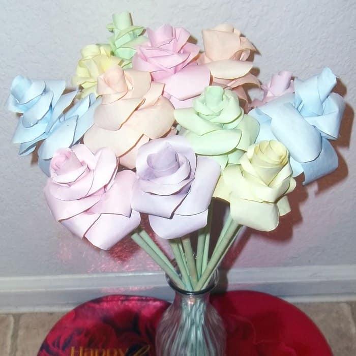 DIY pastel dyed paper roses
