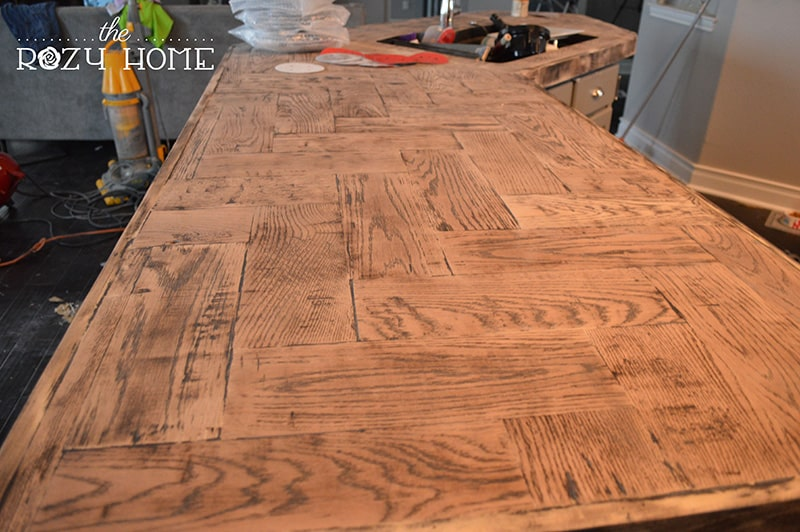DIY wooden herringbone countertops