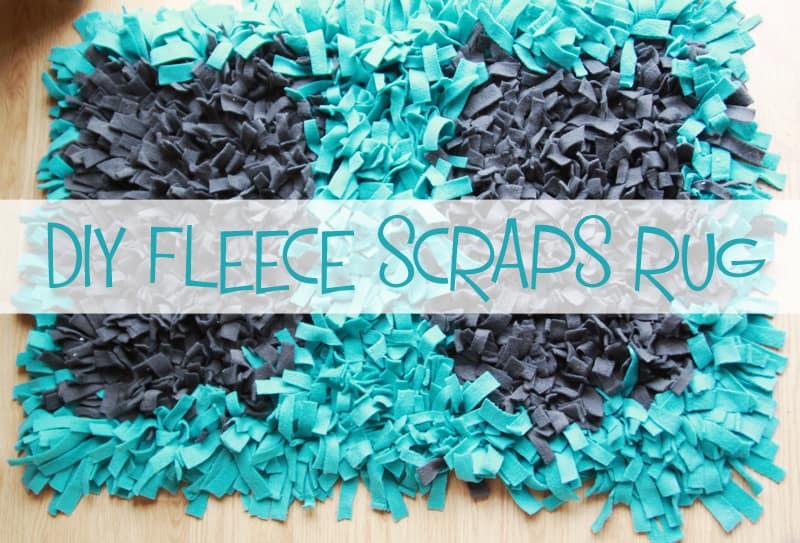 DIY. fleece scraps rug