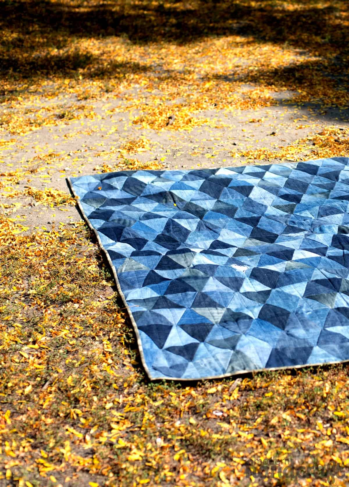 Denim triangle quilted picnic blanket