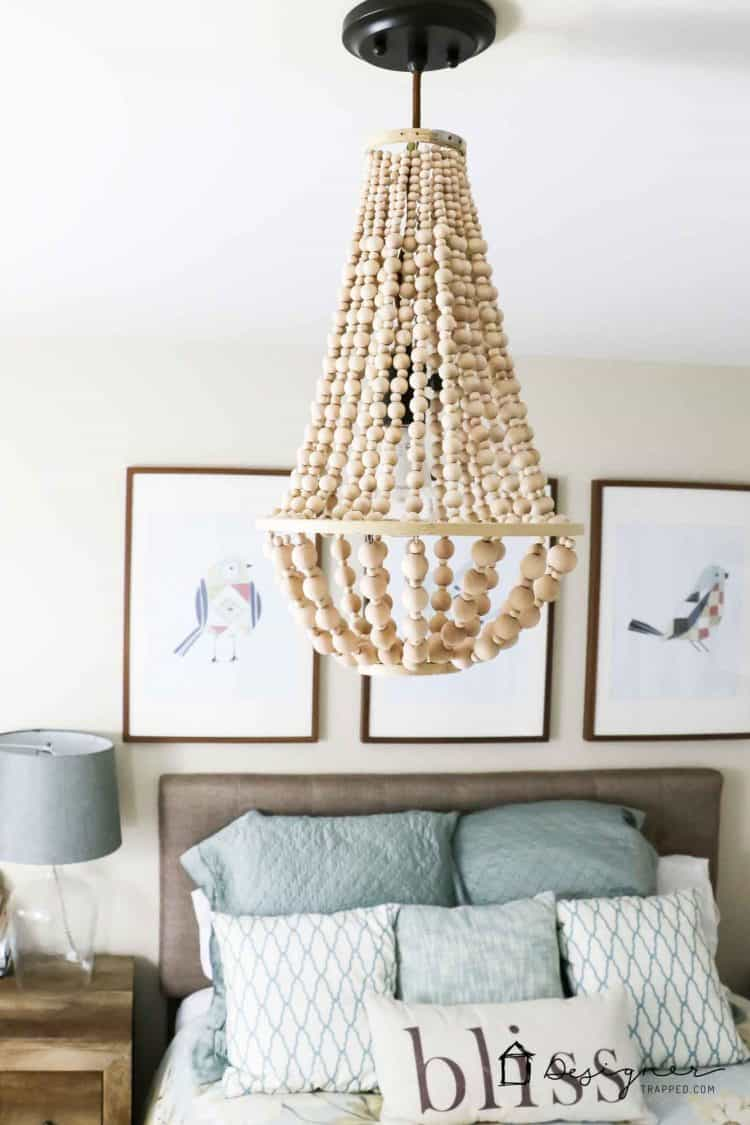 Elegant wooden bead chandelier