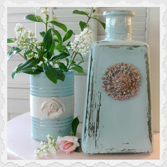 Faux vintage pastel glass bottle and tin can